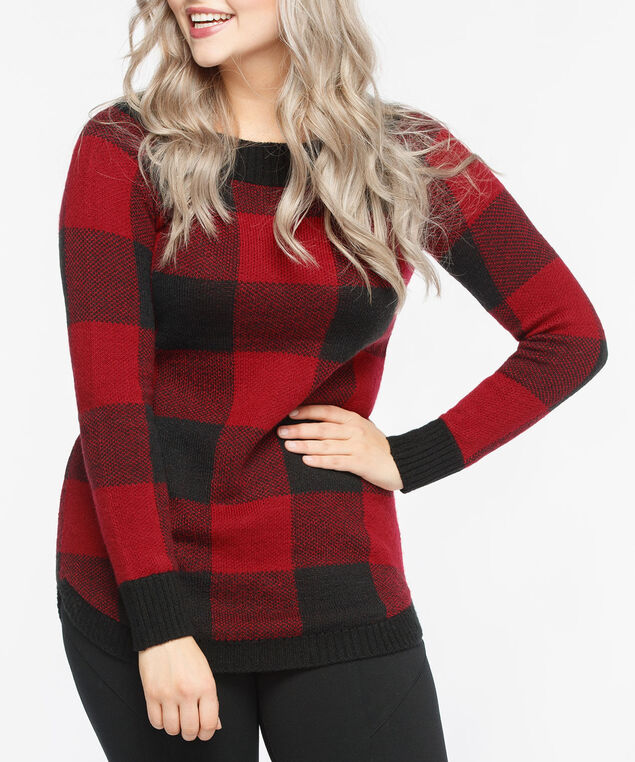 Buffalo Check Boatneck Sweater, Crimson/Black, hi-res