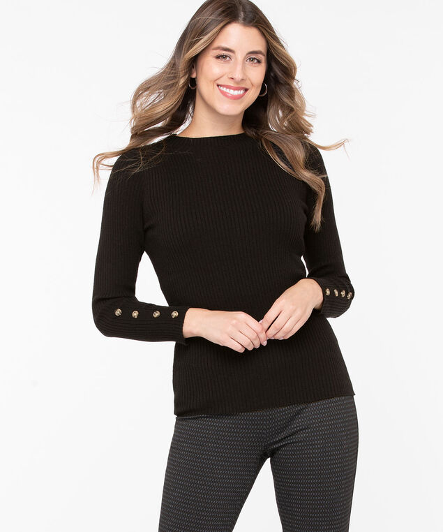 Button Cuff Mock Neck Pullover, Black