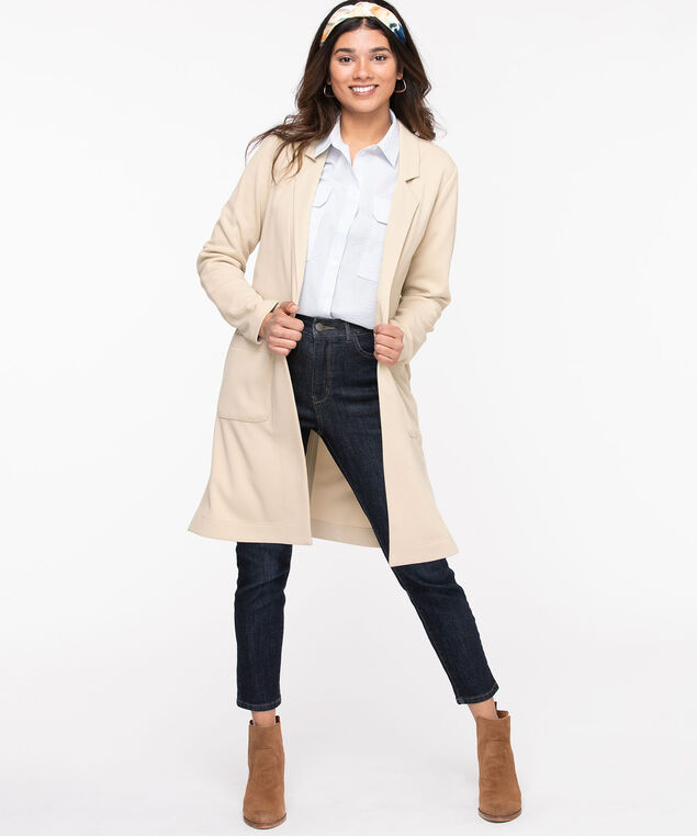Notch Collar Longline Open Jacket, Cement
