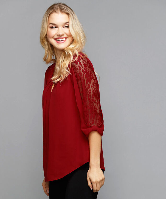 Lacey 3/4 Sleeve Blouse, Cherry, hi-res