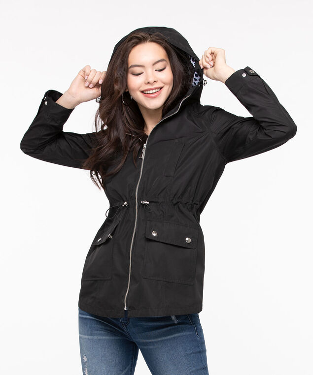 Hooded Drawstring Waist Anorak, Black, hi-res