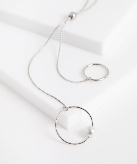 Double Circle Pearl Lariat Necklace, Silver, hi-res