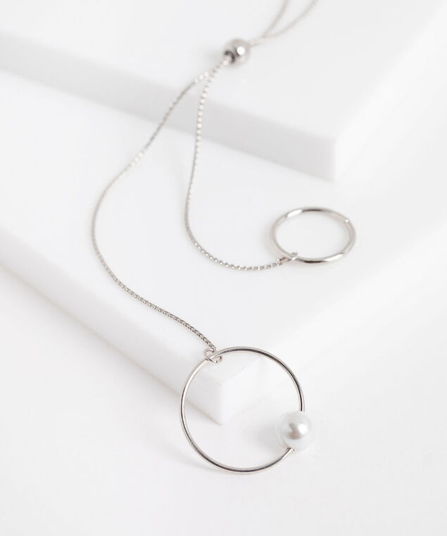 Double Circle Pearl Lariat Necklace, Silver