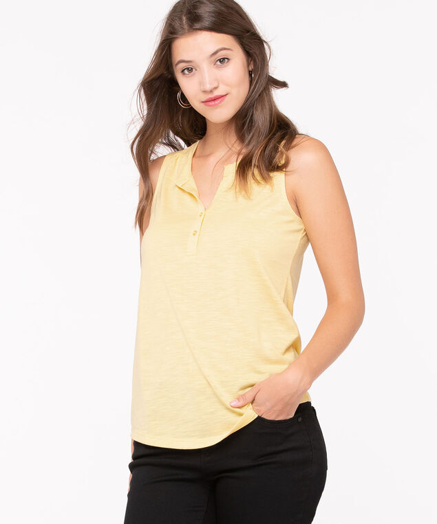 Sleeveless Henley Knit Top, Yellow, hi-res