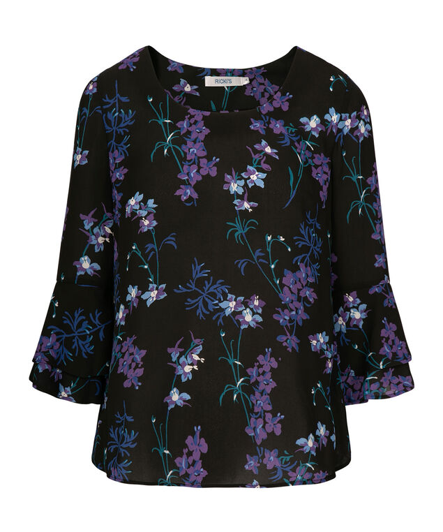 Flounce Sleeve Scoop Neck Blouse, Black/Purple/Blue, hi-res