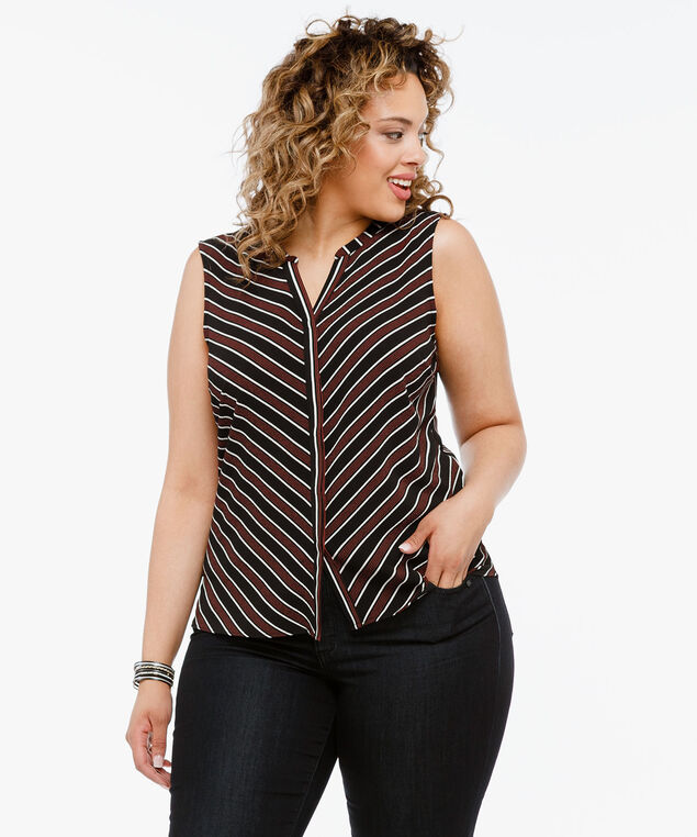 Sleeveless Button Placket Henley Blouse, Black/Pearl/Chili, hi-res