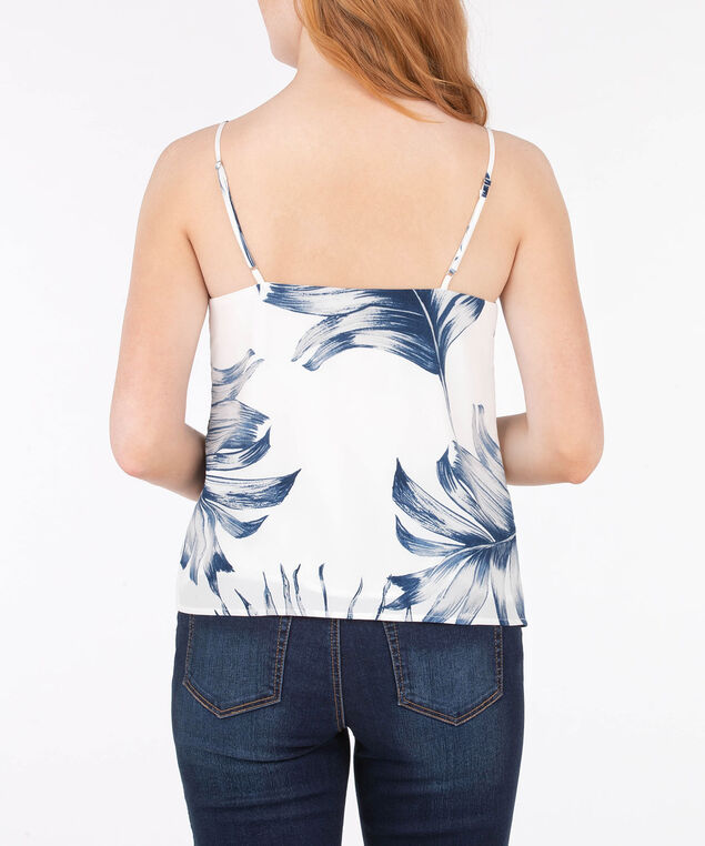 Sleeveless Strappy Spliced Blouse, Pearl/Ink Blue/Silver Grey, hi-res