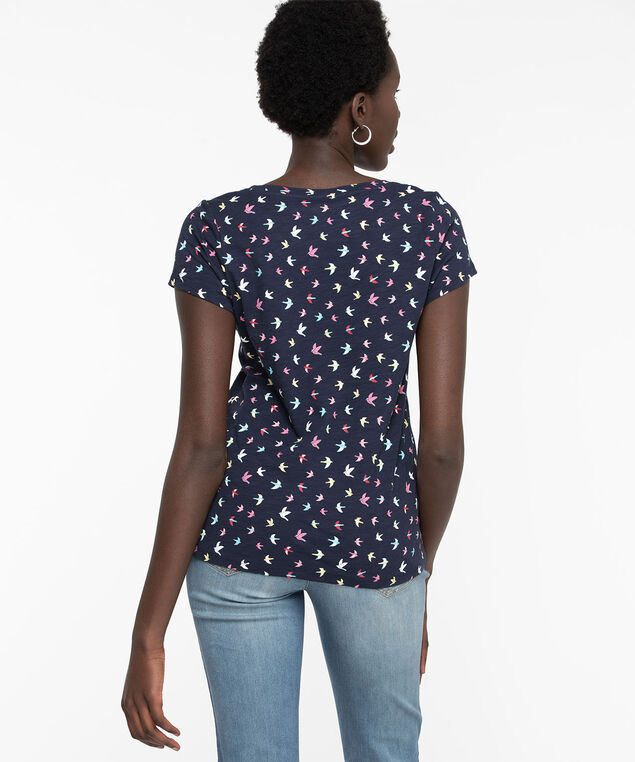 V-Neck Graphic Tee, Navy Cranes