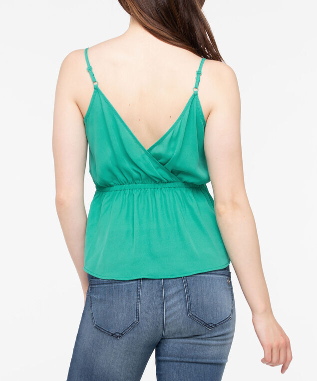 Strappy Tie Waist V-Neck Blouse, Green, hi-res