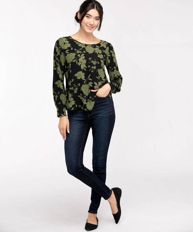 Cuffed Long Sleeve Blouse, Olive Floral