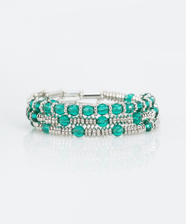 Bead & Faceted Stone Coil Bracelet, Ivy/Rhodium, hi-res