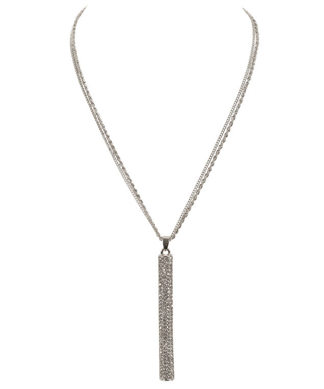 Linear Crystal Pendant Necklace, , hi-res