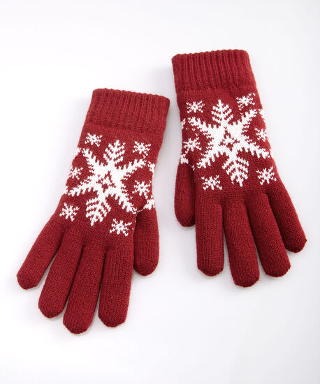 Snowflake Chenille Lined Gloves, Pearl/Crimson, hi-res