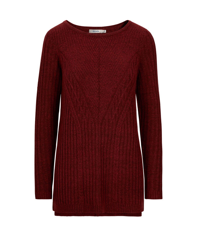 Plush Cable Knit Pullover, Cherry, hi-res