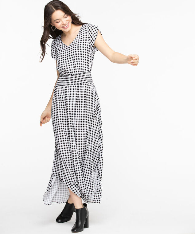 Black Check Smocked Maxi Dress, Black/Pearl