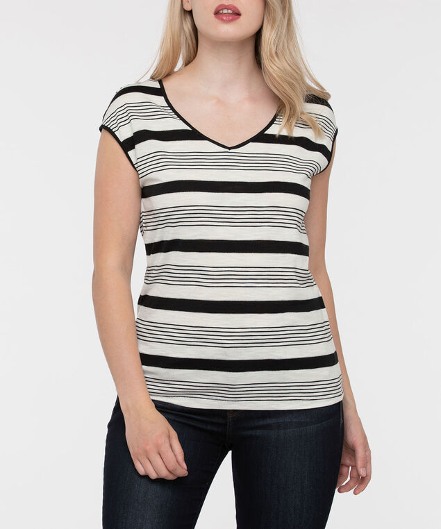 Striped Extended Sleeve Top, Black/Pearl/Silver, hi-res