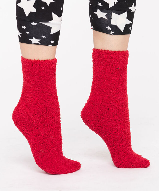 Solid Colour Plush Socks, Red