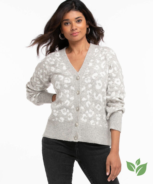 Eco-Friendly Button Front Cardigan, Grey/Ivory Animal Print