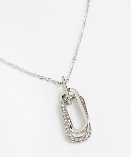Intertwined Oval Pendant Necklace, Rhodium, hi-res