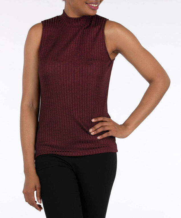 Sleeveless Ribbed Mock Neck Top, Burgundy, hi-res