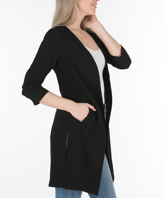 Collarless Longline Open Jacket, Black, hi-res