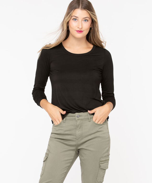 Scoop Neck Layering Essential Top, Black