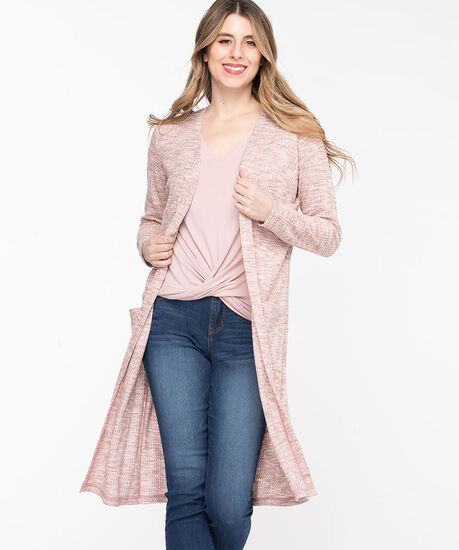 Waffle Knit Open Duster Cardigan, Peach Pink Mix, hi-res