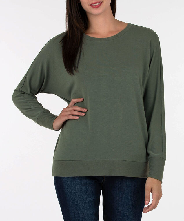 Button Back Long Sleeve Pullover, Light Sage, hi-res