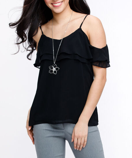 Strappy Cold Shoulder Blouse, Black, hi-res