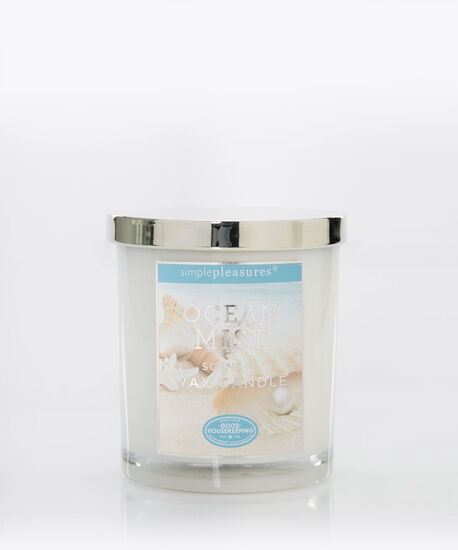 Ocean Mist Scented Candle, Blue/White, hi-res