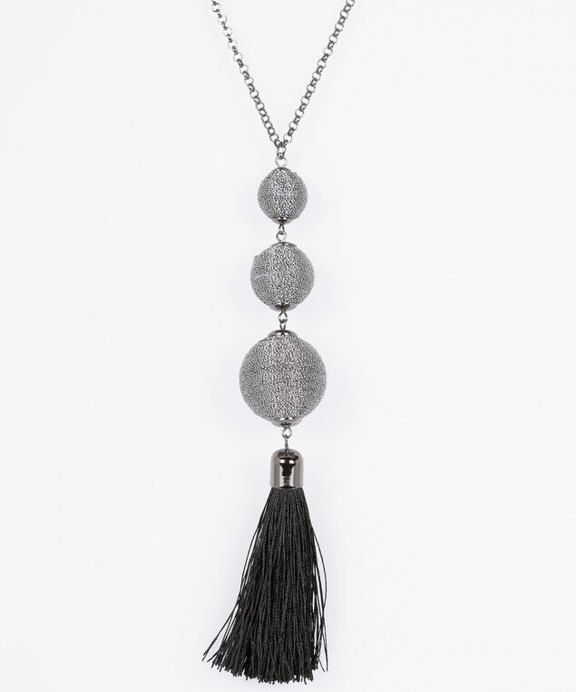 Threaded Ball & Tassel Pendant Necklace, Silver/Hematite/Black, hi-res