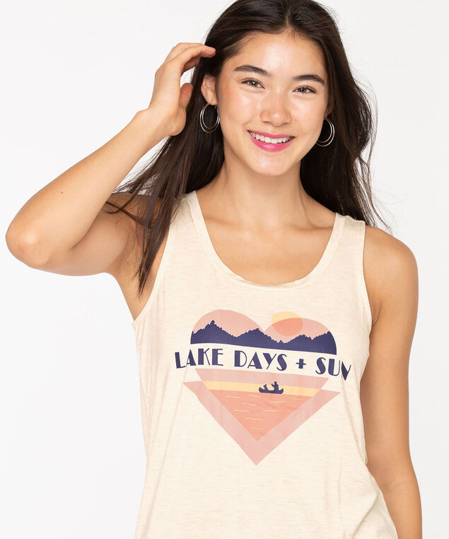 Heart Graphic Shirttail Tank Top, Oatmeal, hi-res