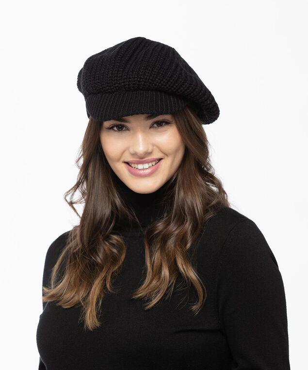 Chunky Knit Cabbie Hat, Black, hi-res