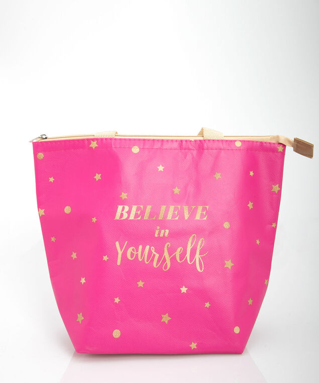 Believe In Yourself Insulated Tote, Bright Pink/Gold, hi-res