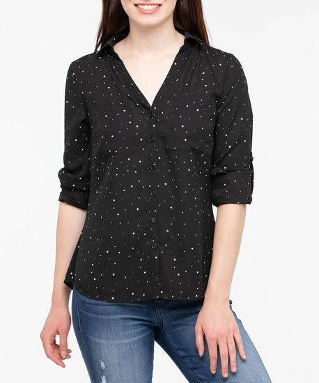 Button Front Collared Blouse, Black/Pearl, hi-res