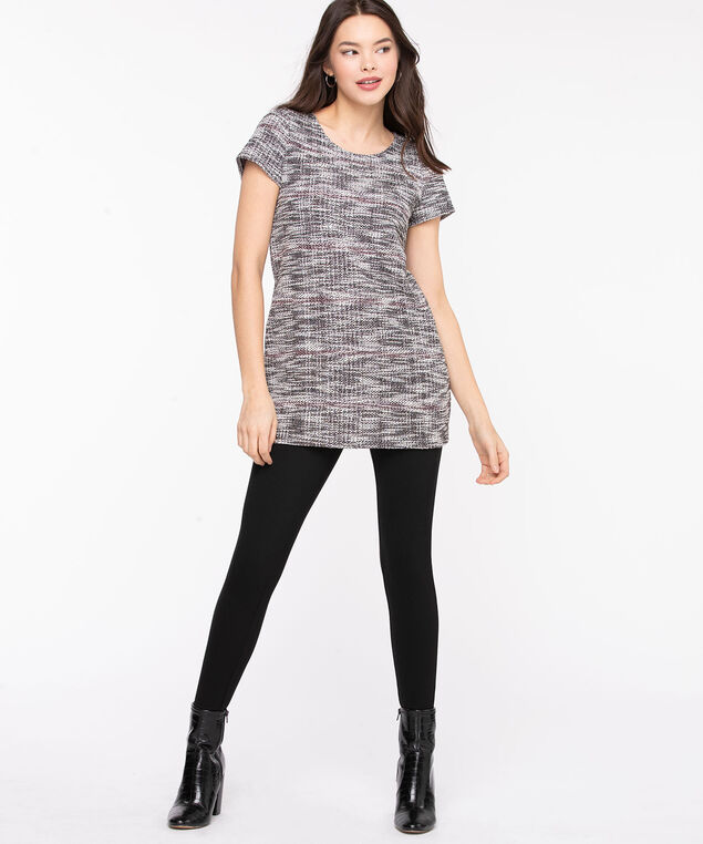 Scoop Neck Short Sleeve Tunic, Black/Pearl Mix