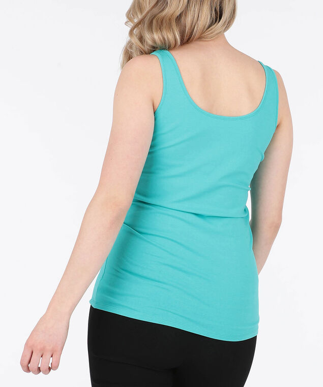 Scoop Neck Cami, Soft Teal, hi-res