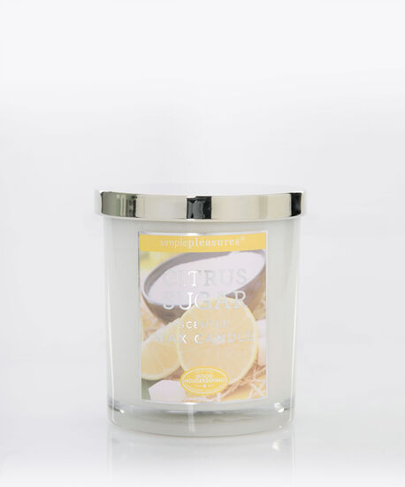 Citrus Sugar Scented Candle, Yellow/White, hi-res