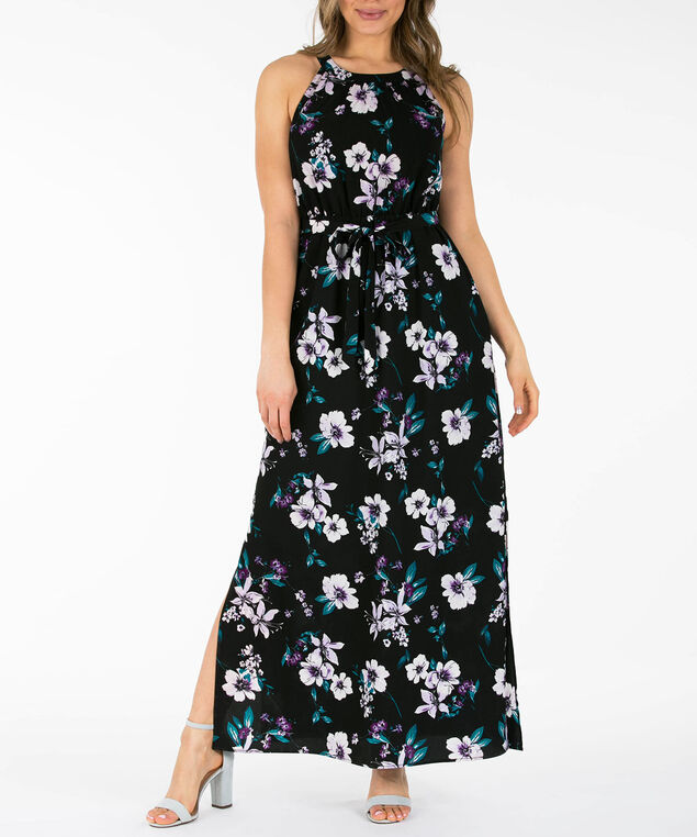 Floral Halter Maxi Dress, Black/Purple/Teal, hi-res
