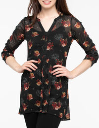 Roll Cuff Button Front Tunic