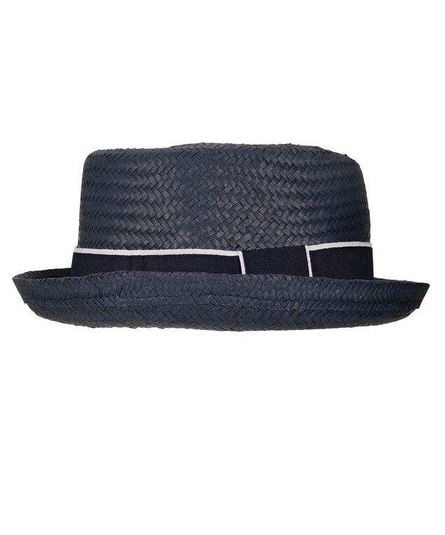 Ribbon Trim Woven Hat, Navy/White, hi-res