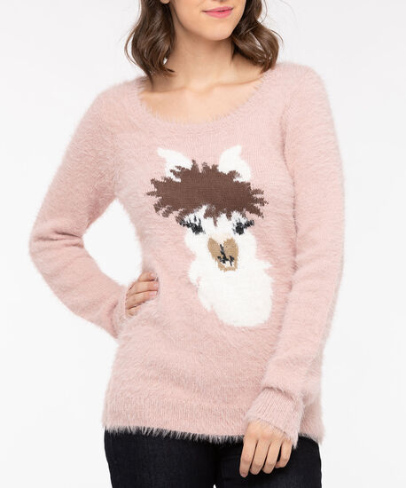 Llama Feather Yarn Pullover Sweater, Dusty Blush/Pearl/Brown, hi-res