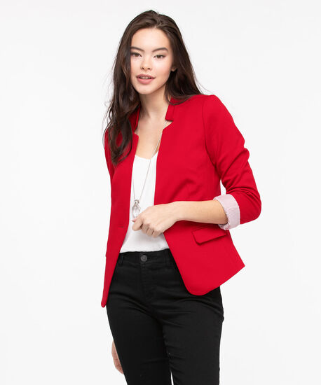 Inverted Notch Collar Blazer, Hibiscus, hi-res