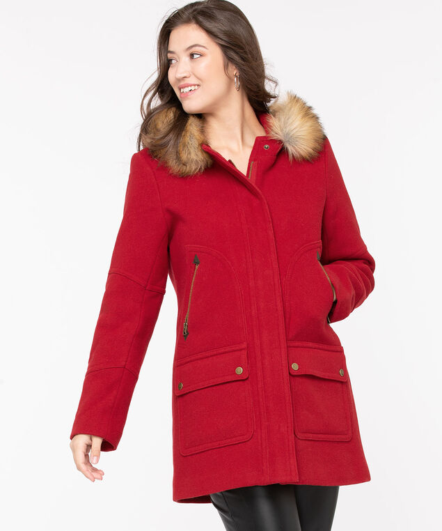 Red Hooded Duffle Coat, Red, hi-res