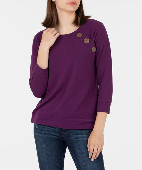 Button Detail Long Sleeve Pullover, Black Cherry, hi-res