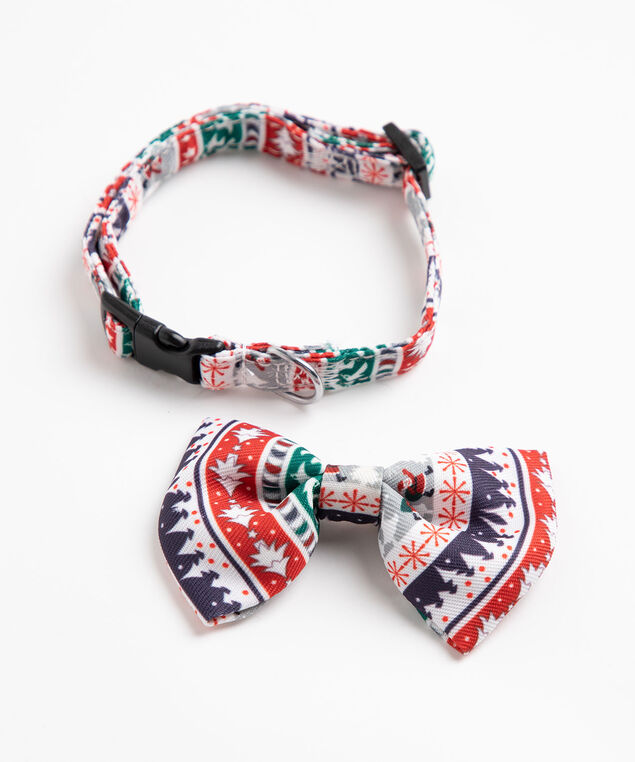 Festive Bow Tie Pet Collar, Red/Green/Grey/White