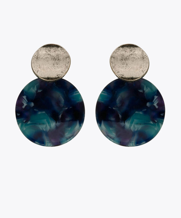 Resin & Metal Disc Earring, Deep Sapphire/Bright Aqua/Rhodium, hi-res