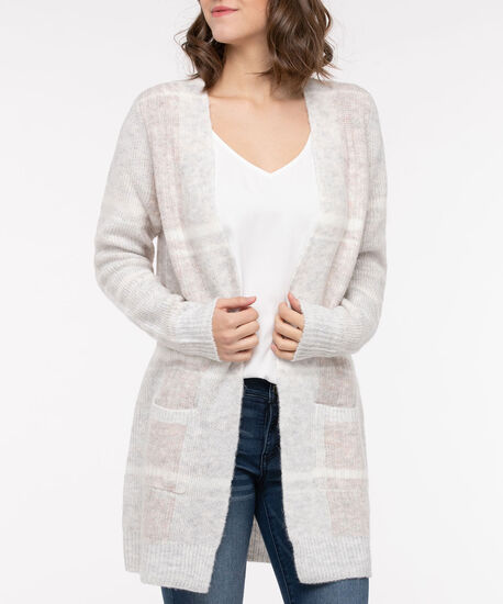 Soft Plaid Open Front Cardigan, Ivory/Dusty Blush/Light Heather Grey, hi-res