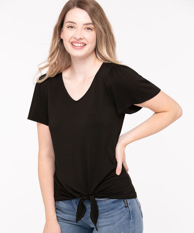 Elbow Sleeve Tie Front Top, Black, hi-res