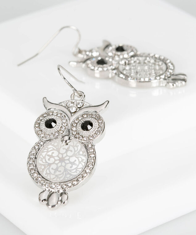 Filigree & Crystal Owl Earring, Black/Rhodium, hi-res